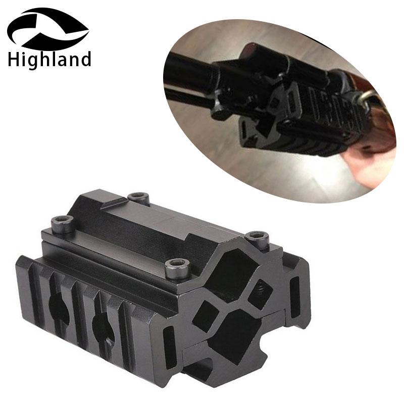 Tactical Triple Side Tri-Rail Barrel Mount- 5 Slots 21mm Picatinny and Weaver Rails Attach Laser Grip Flashlight Bipod