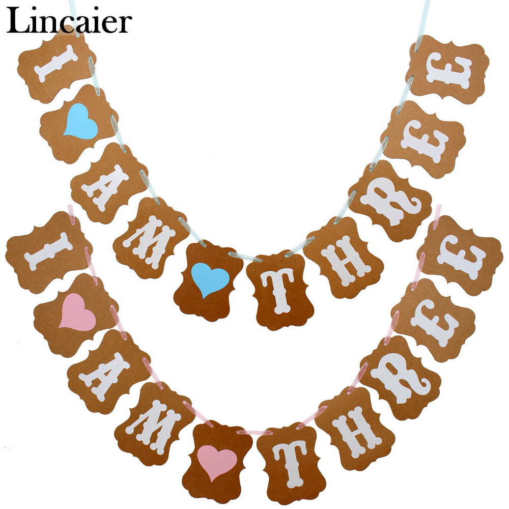 Lincaier I Am Three Kraft Paper Banner 3 Years Birthday Baby Boy Girl 3rd Party Decorations Third Bunting Garland Pink Blue