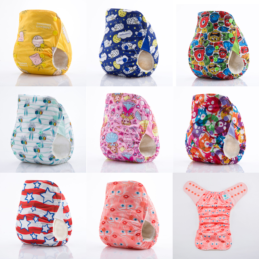 10 Pieces JinoBaby Bamboo Diaper Cloth Diapers Reusable Pants with Inserts - Care for Baby