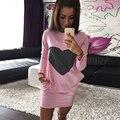 Women T Shirt Dress Длинным Рукавом 2016 Весна Лето Новый хлопок Черный Розовый Футболка Сексуальное платье Партии Мини-Платья Женщин одежда