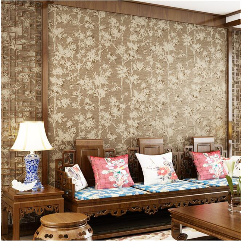 Beibehang papel de parede Simple Pastoral Chinese Wallpaper Living Room Bedroom Sofa TV Background Wallpaper Pure Paper Fire Tre custom 3d wallpaper mural chinese style flower and bird wallpaper restaurant living room bedroom sofa tv wall papel de parede