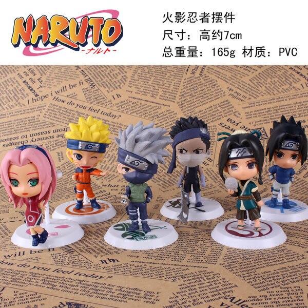Naruto Peripheral PVC 18th Era 6pcs/set Pedestal Decoration Action Figure Model Toy Doll