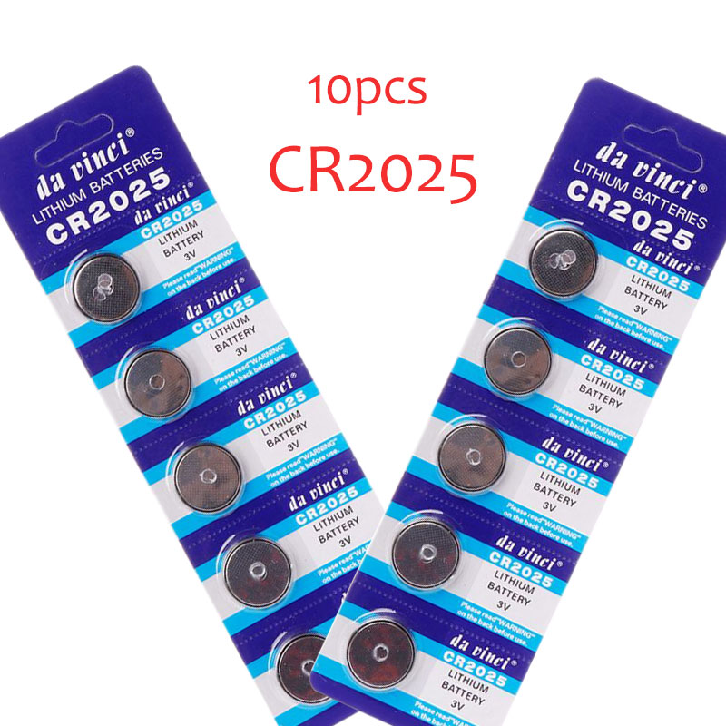 10pc Lithium Battery CR2025 3V Cell Coin Batteries DL2025 BR2025 KCR2025 CR 2025 Car Key Button Watch Computer Electronic Toy Re
