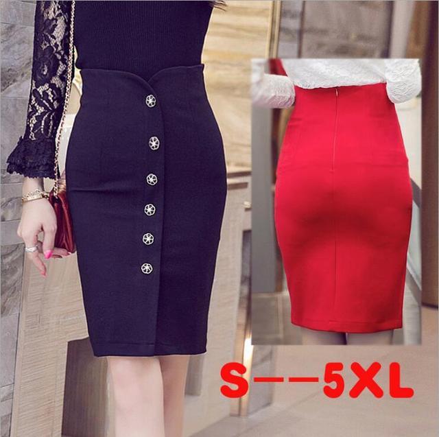 aabdbb6ab58 Plus Size 5XL Pencil Skirt Saias Faldas Mujer Office Ladies High Waist  Bottons Single Breasted Open