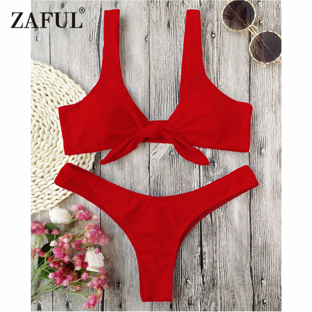 цены ZAFUL Bikini Knotted Padded Thong Bikini Set Women Swimwear Swimsuit Scoop Neck Solid High Cut Bathing Suit Brazilian Biquni