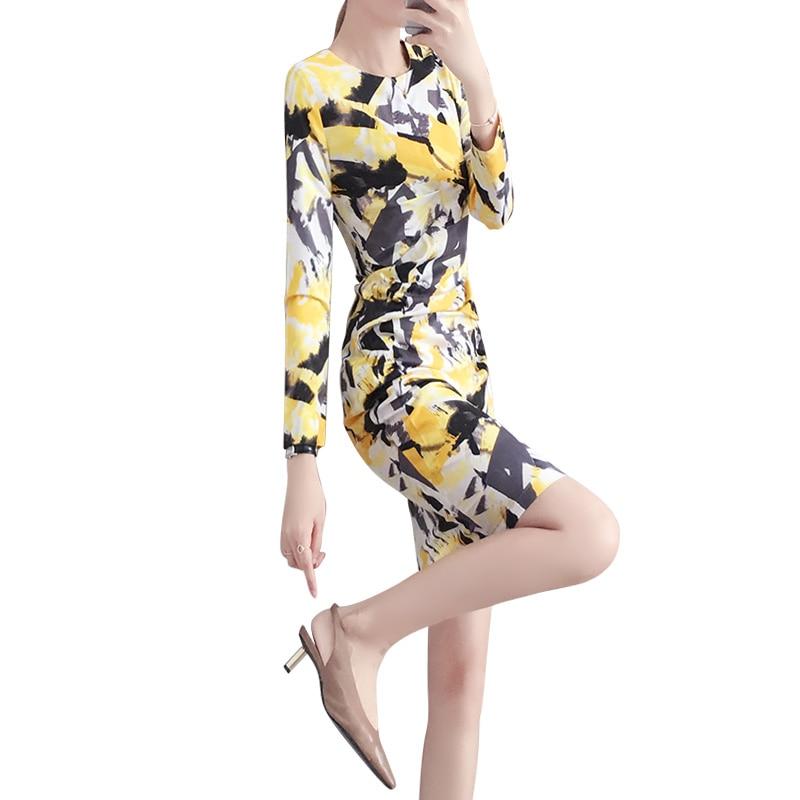 Lady Manches À Z461 Casual Floral Imprimé Cou Coréenne Mode Longues Robes Été De O Office Crayon Style R45AL3j