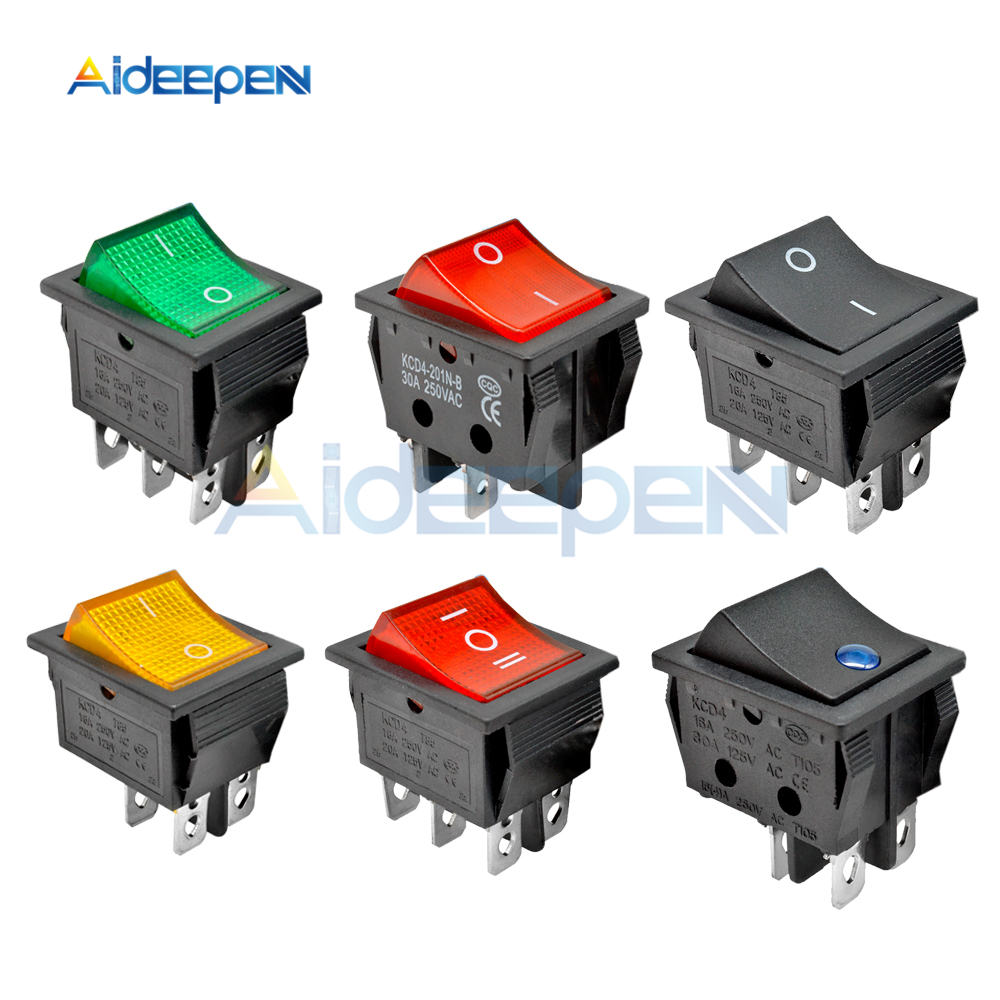 KCD4 Rocker Switch Power 2 position/3 position 4 Pins 6 Electrical Equipment With Light 16A 250VAC/20A 125VAC