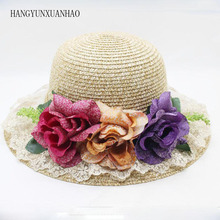 Casual Summer High Quality Straw Sun Hat for Women Tea Party Ladies Flowers Lace Beach Caps Visor Trilby