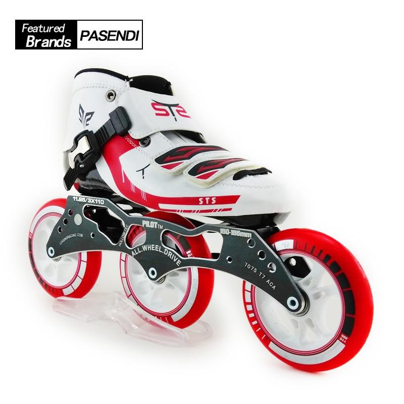Professional 3 Wheel Roller Skates Fiberglass Mens Speed Inline Skating Shoes Children Patins Slalom Inline Skates Shoes