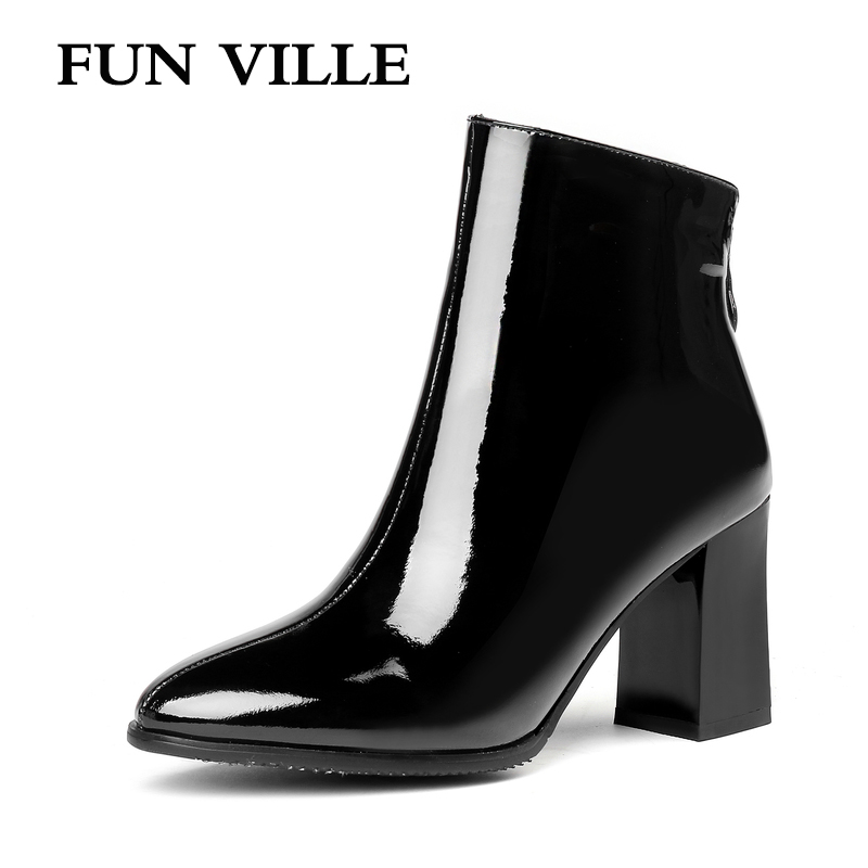 FUN VILLE 2018 New Fashion Women Ankle boots Genuine leather winter Boots sexy ladies shoes Pointed toe Chelsea shoes zipper new arrival women boots nubuck leather pointed toe winter shoes ankle boots fashion martin boots metal decration chelsea boots
