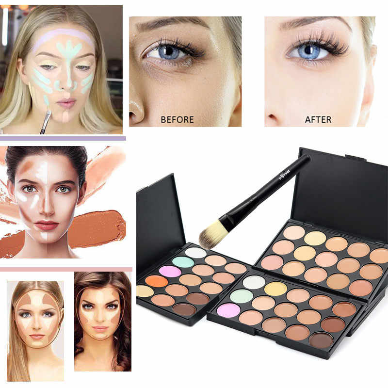 Professional 15 Colors Face Concealer Palette And Brush Set Camouflage Cream Contour Palette with Foundation Brush