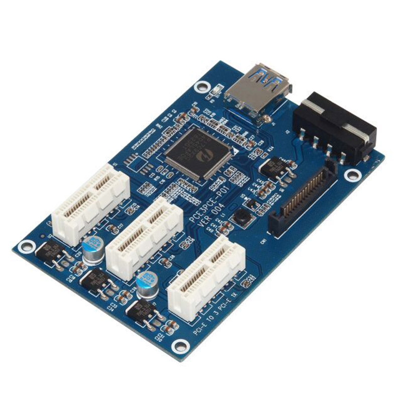 PCI-E À PCIe Riser Carte 1 à 3 Port 1X Commutateur Multiplicateur HUB D'extension Riser Extension USB 3.0 PCI-E carte postale pci adaptateur sata
