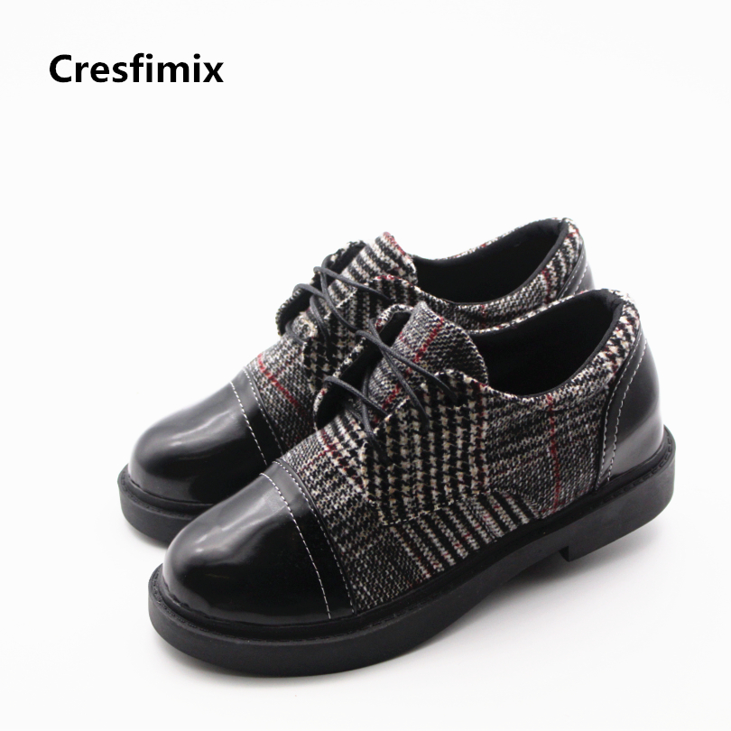 Cresfimix women cute spring lace up flat shoes female casual street stylish plaid shoes lady comfortable round toe flats zapatos cresfimix women cute spring
