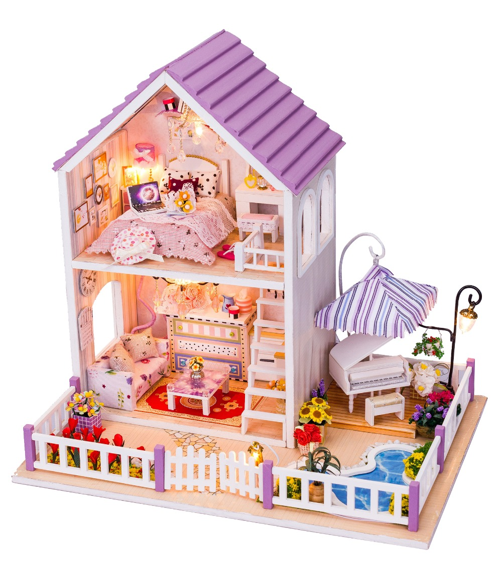 DIY Wooden Dolls House 3D Handmade Miniature Kit- Sakura House & All furniture/LED light sakura sushi bar japanese zakka style diy doll house 3d miniature led light wood