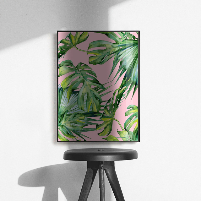 Pink Style Posters Prints Monstera Canvas Painting Wall Art Decorative Nordic Perfume Picture Living Room