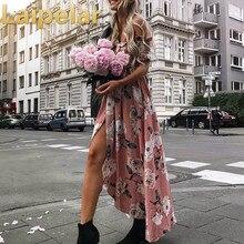 Laipelar Strapless Bohemia Maxi Dress Women High Split Elastic Floral Print Elegant Chiffon Boho Causal Vestidos