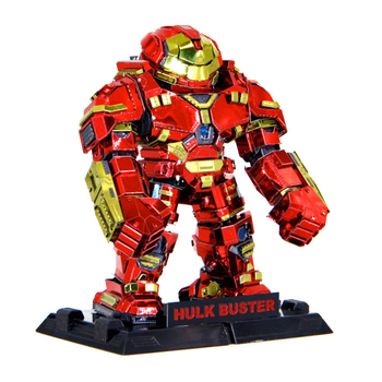 Color Hulk Buster 3d Metal Model Puzzle Laser Cut Manual Jigsaw Kits Adults Action Figures Collection Educational Toys Hobbies