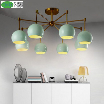 iron 3 heads 6 heads 8 heads Multiple rod ceiling dome lamp creative personality retro nostalgia cafe bar ceiling light цена