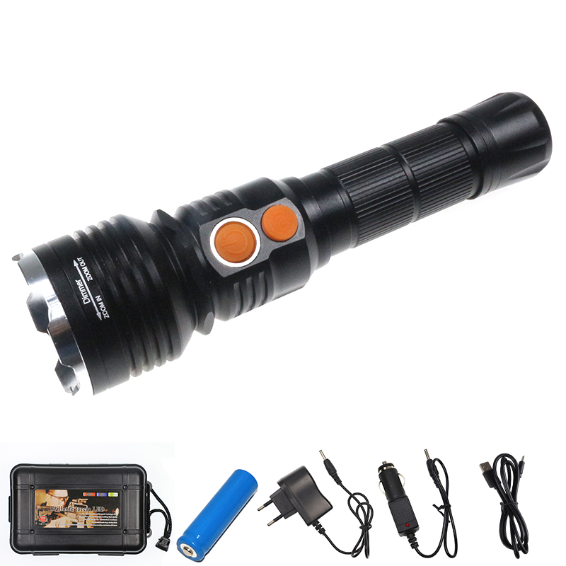 6000 Lumens XML T6 LED+COB Flashlight 4 Modes Zoomable LED Flash Light USB Rechargeable 3xAAA/18650 Camping Lantern Zaklamp