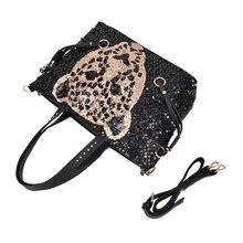 Asds женщины леди сумочка leopard head блестки сумки на ремне сумки кошелек chic punk стиль