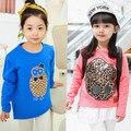 New 2016 Spring & Autumn Children's Clothing Female Child long-sleeve T-shirt  Girl Leather medium-long Print Top Basic Shirt