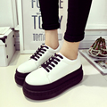2016 new spring the thickness of the bottom muffin shoes Korean Harajuku wind band round leather loafer round shoes white shoes