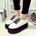 2017 новая коллекция весна толщина нижней сдобы обувь корейский Harajuku ветер полоса круглый кожаный бездельник круглым обувь белый обувь