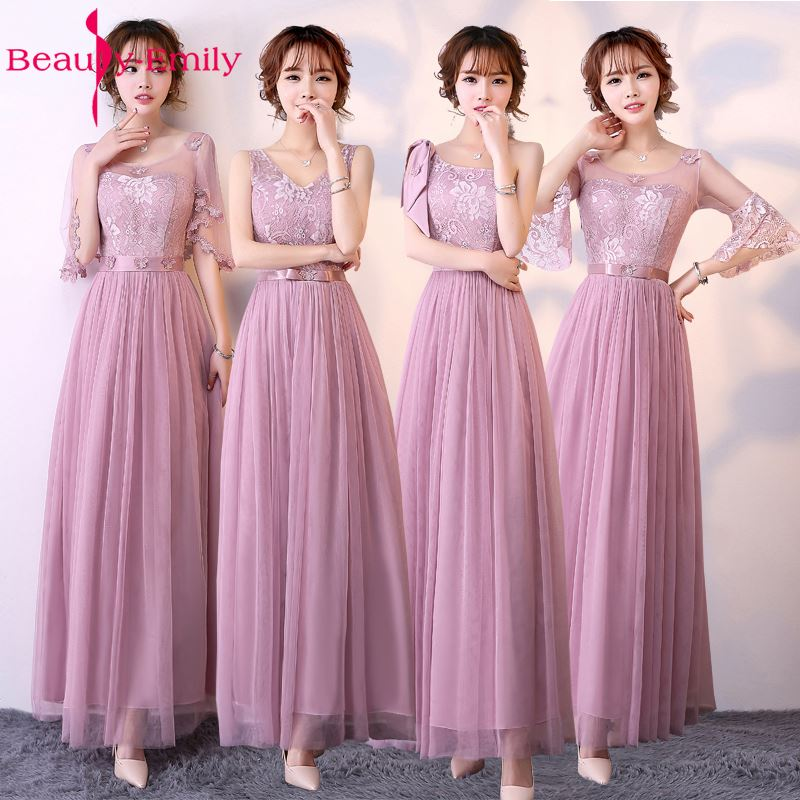 Beauty-Emily Lace Long A-line Grey   Bridesmaid     Dresses   2017 Off the Shoulder Lace Up Homecoming Party   Dresses