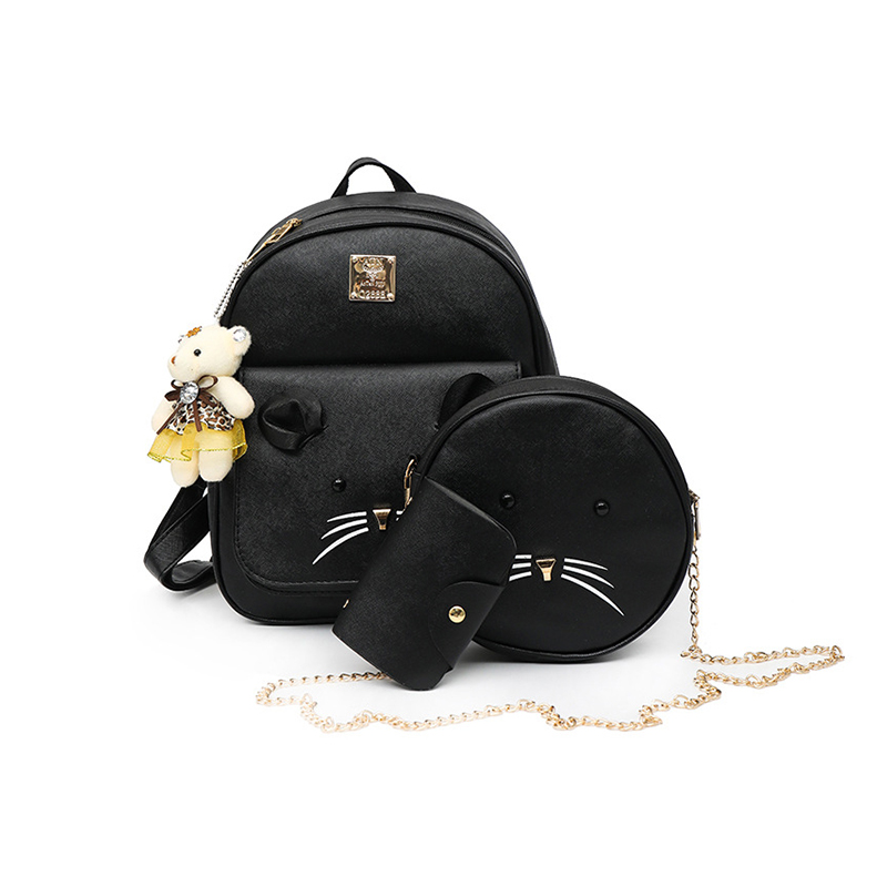 Cute Cat Backpack for Girls Teenage 3 Pcs/set Back Pack Female Small Pu Leather Solid Round Chain Women Messenger Composite Bag
