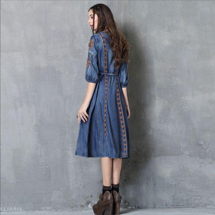 Broderie 2017 Femmes Slim Moitié Femme Robe Automne Rétro Vintage ligne Taille Lâche Coton Denim A Bleu Manches Robes oexCrQBWd