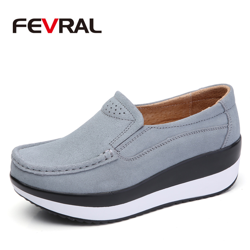 FEVRAL New Spring and Summer Woman Breathable Platform Casual Shoes Ladies Elegant Suede Leather Woman Moccasin Woman's Loafers 2014 spring and summer new elegant gold buckle leather shoes women shoes carrefour