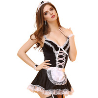 Sexy Maid Costumes Black White Patchwork Lace French Maid Dress Uniform Holloween Cosplay Women Sexy Lingerie Erotic Lingerie