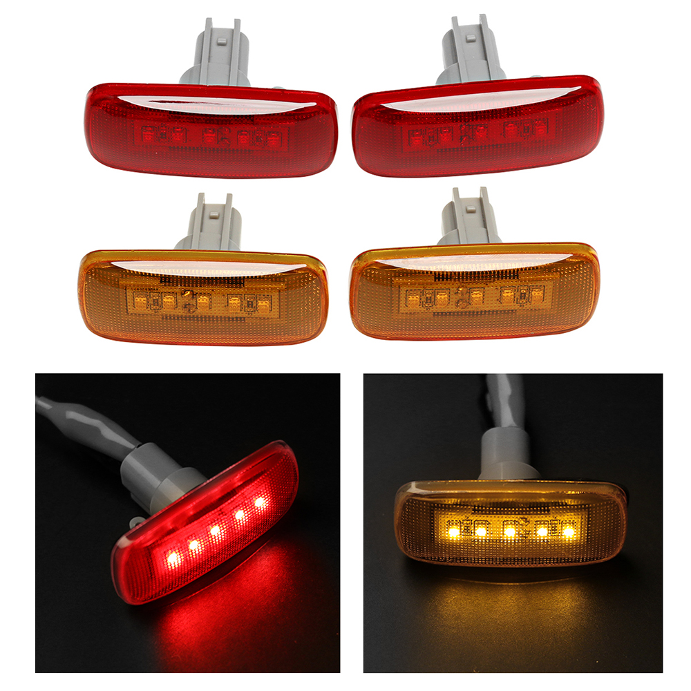 Hot Sales (2 Amber, 2 Red) Cab Bed Fender 5 LED Side Marker Lights Fender Lamps Fit For 2010-2017 Dodge Ram Pickup