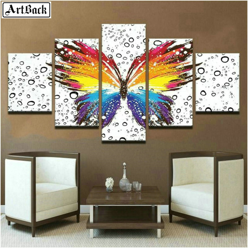 Color butterfly 5 spell diamond painting animal cross stitch full square drill 5d mosaic home decoration rhinestone stickers