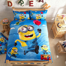 Boys Minions Bedding Set/Child Cartoon Bear Twin Size Christmas Beddings/Kid Despicable Me Duvet Cover/Bed Sheet/Pillowcase