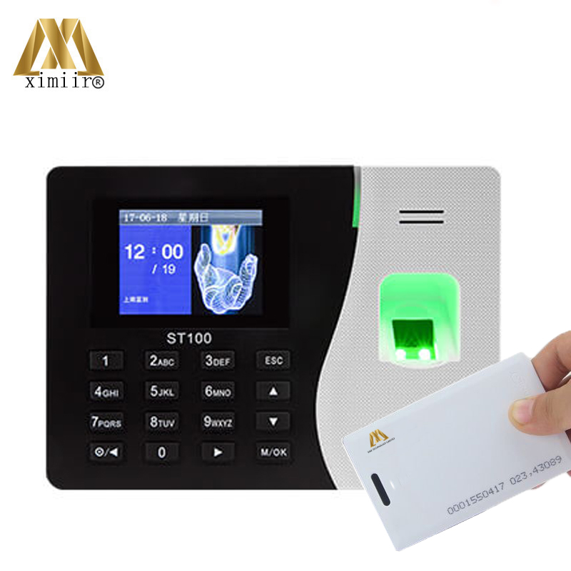 Hot Sale Smart Fingerprint Time Attendance ST100 Biometric Card Time Recorder With 125KHz RFID Card Reader