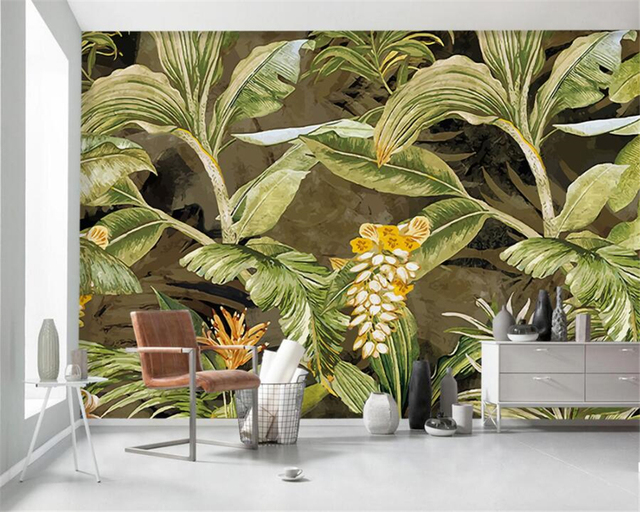 Wall Mural Custom Wallpaper For Walls 3 D Style Vintage Rainforest Palm Plantain Leaf Home