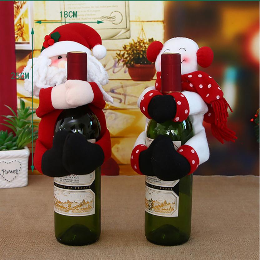 Happy Christmas Party Candy Jar Household Children Can Bin Decorative Box Santa Claus Snow Man Wine Bottle Case