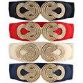 Mujeres Vintage Nudo Chino Hebilla de Cinturón de Cuero de Imitación Elástico de Cintura Elástica Banda BLTLL0074
