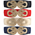 Women Vintage Chinese Knot Buckle Stretchy Belt Faux Leather Elastic Waist Band  BLTLL0074
