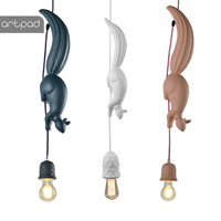 Modern Creative Squirrel Pendant Lights Resin Cartoon Edison Bulb E27 LED Hanglampen For Children Room Restaurant Bar Livingroom