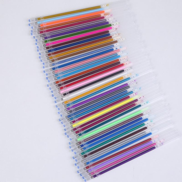 12/24/36/48 Color Gel Pen Refills Set Glitter Multi Colored Painting Writing Pen Refill Rod For Handle School Stationery Tool