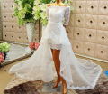 New Arrival vestido de noiva Sweetheart Beaded Detachable Train Bridal Gown Half Sleeves Beach Short Lace Wedding Dresses