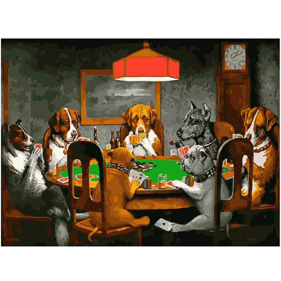 WEEN Dogs playing poker-DIY oil paint by numbers for kid, canvas Hand-painted painting by numbers kit, Acrylic Paint 40X50cm
