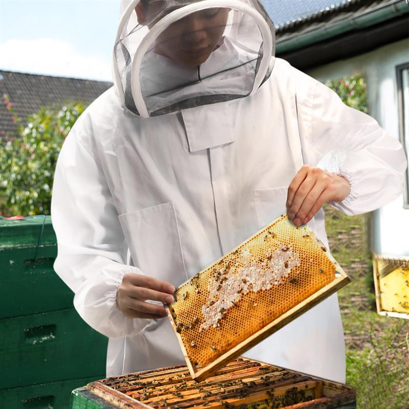 Bee Keeping Suit Removeable Hat Anti bee Protective Safety Coveralls Smock Equipment Supplies Beekeeping Jacket Veil Set-in Protective Clothing from Home & Garden    1