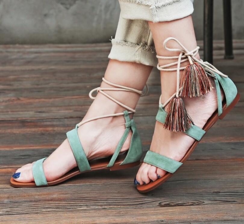 b150198da08d flat suede tassel sandals belt new 34 sandals lace up summer women women 39  sheep girls ...