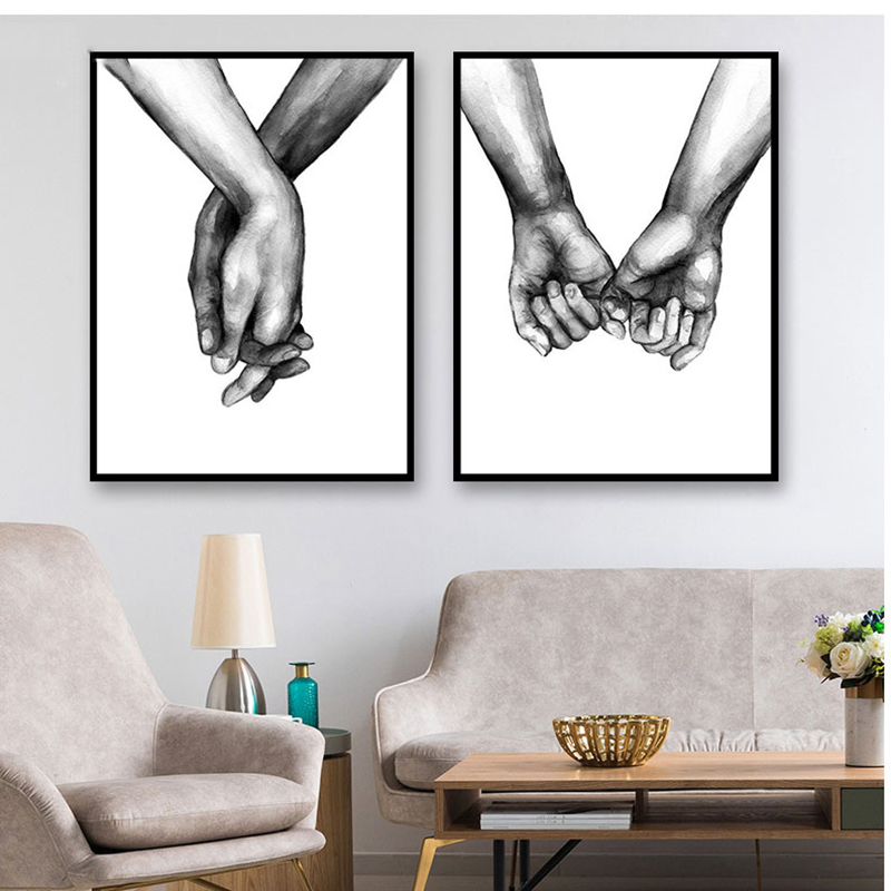Nordic Poster Black And White Holding Hands Picture Canvas Prints Lover Quote Painting Wall Art For Nordic Poster Black And White Holding Hands Picture Canvas Prints Lover Quote Painting Wall Art For Living Room Minimalist Decor