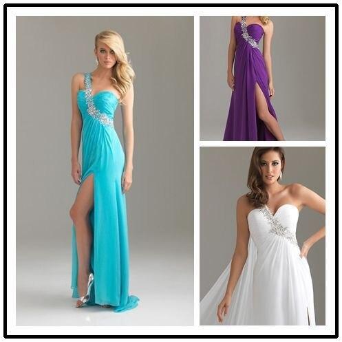 Free Shipping 2018 Stock Long Robe De Soiree Chiffon One Shoulder Palette  Prom Party Gown Vestido De Noiva Bridesmaid Dresses