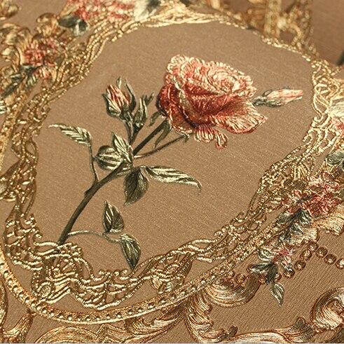 Nouveau luxe Européen doré papier peint floral De Luxe Rose fleurs fond d'écran Pour chambre 3D feuille D'or Papier Peint murale