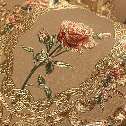 Nouveau luxe européen doré papier peint à fleurs de luxe Rose fleurs fond papier peint pour chambre 3D feuille d'or papier peint mural